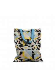 Geanta Handmade Tote Bag Basic Original Mulewear Geometric Abstract Metri Patrati Square Meter Multicolor 43x37 cm
