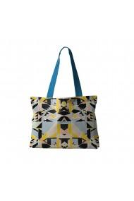 Geanta Handmade Tote Bag Fatty Captusit Original Mulewear Geometric Abstract Patrate Color Stroboscop Stroboscope Madness Multicolor 37x45 cm