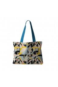 Geanta Handmade Tote Bag Fatty Captusit Original Mulewear Geometric Abstract Metri Patrati Square Meter Multicolor 37x45 cm
