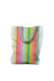 Geanta Handmade Tote Bag Liner Original Mulewear Abstract Curcubeu Feel the Rainbow Multicolor 45x37 cm