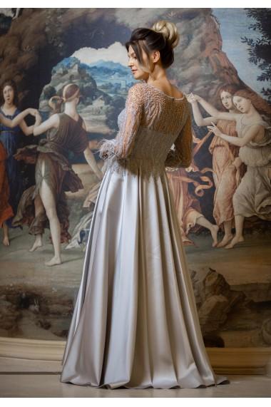 Rochie de seara lunga Moda Aliss forma de A din poliester, Gri