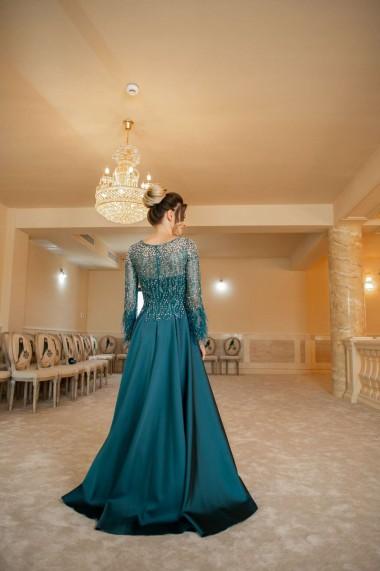 Rochie de seara lunga Moda Aliss forma de A din poliester, verde
