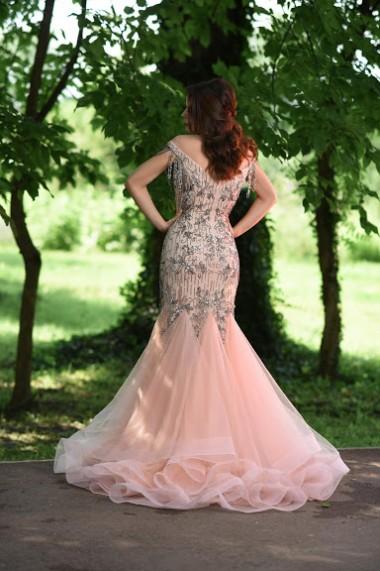 Rochie de seara lunga Moda Aliss mulata din poliester, Roz