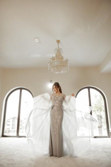 Rochie de seara lunga Moda Aliss dreapta din poliester, Argintiu