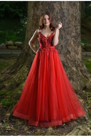 Rochie de seara lunga Moda Aliss forma de A din poliester, Rosu