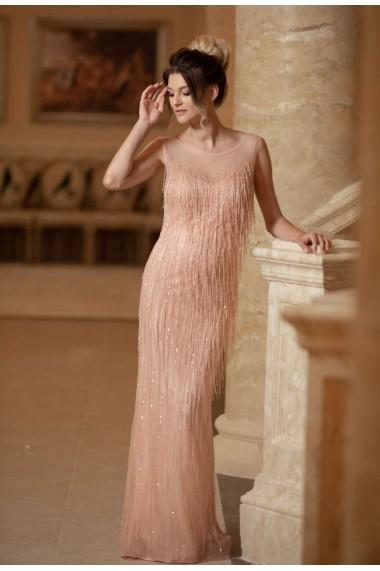 Rochie de seara lunga Moda Aliss dreapta din poliester, Roz