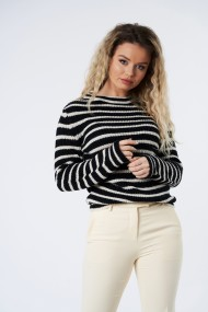 Pulover din tricot Mobiente Navy cu dungi crem