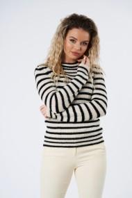 Pulover din tricot Mobiente Crem cu dungi navy