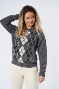 Pulover Mobiente din tricot Gri deschis