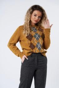 Pulover Mobiente din tricot Mustar