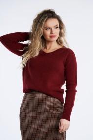 Pulover din tricot Mobiente Visiniu