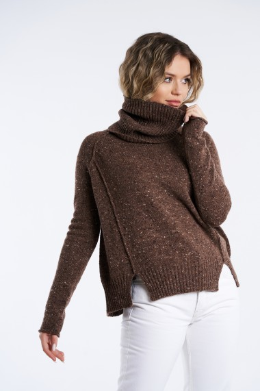 Pulover Mobiente din tricot Maro