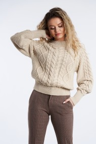 Pulover Mobiente din tricot Bej