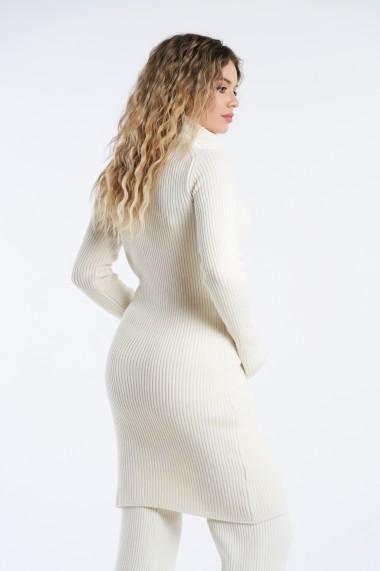 Rochie din tricot Mobiente Crem