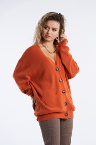 Cardigan din tricot Mobiente Portocaliu