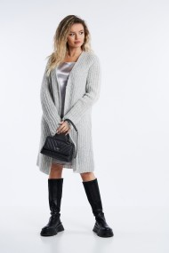 Cardigan din tricot Mobiente Gri cu fir argintiu