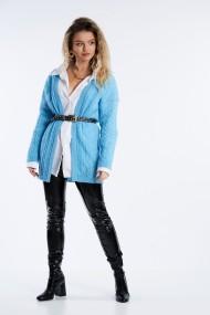 Cardigan din tricot cu torsade Mobiente Albastru turcoaz