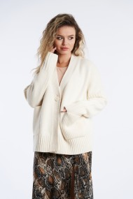 Cardigan din tricot cu croi larg Mobiente Crem