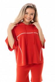 Hanorac tricotat cu gluga Mobiente Rosu