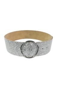 Curea Mabotex glitter argintiu cu catarama metalica argintie 6cm