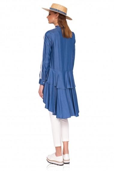 Bluza NISSA din denim asimetrica Albastru