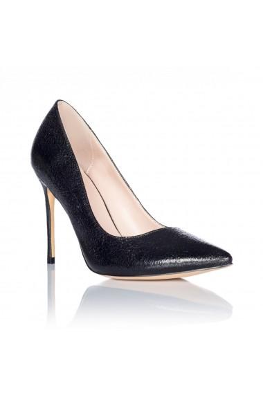Pantofi cu toc NISSA stiletto din piele ecologica Negru