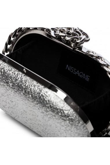 Clutch NISSA stralucitor cu detalii deosebite Argintiu
