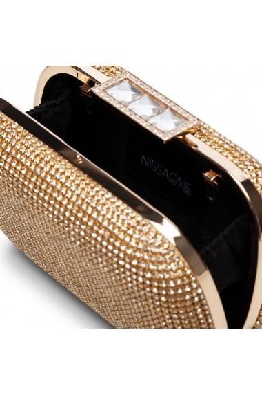Clutch NISSA elegant cu textura pretioasa Auriu