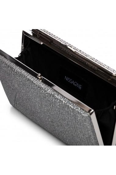 Clutch NISSA cu cristale aplicate pe inchizatoare Argintiu