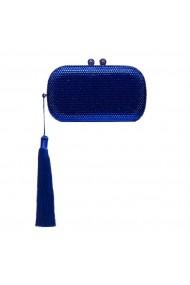 Clutch NISSA stralucitor cu ciucure Albastru