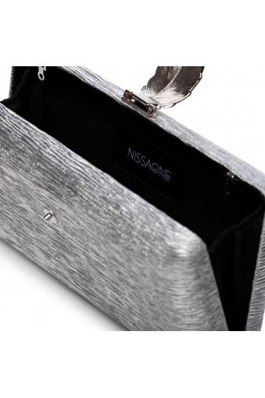 Clutch NISSA cu inchizatoare tip frunza Argintiu