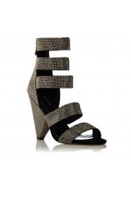 Sandale NISSA cu pietre aplicate Negru