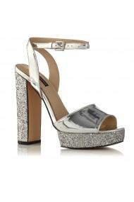 Sandale NISSA cu glitter si platforma Argintiu