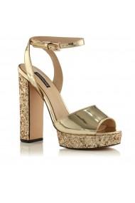 Sandale NISSA cu glitter si platforma Auriu