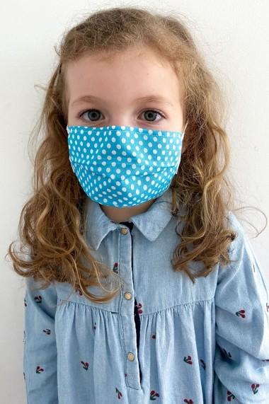 Masca NISSA igienica copii din bumbac 100% Albastru Deschis