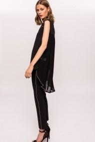 Pantaloni drepti NISSA cu vipusca metalica Negru