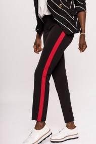 Pantaloni drepti NISSA cu vipusca rosie Negru