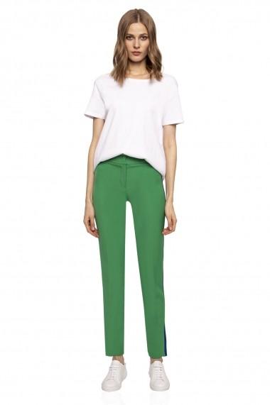 Pantaloni drepti NISSA cu vipusca in culoare contrastanta Verde