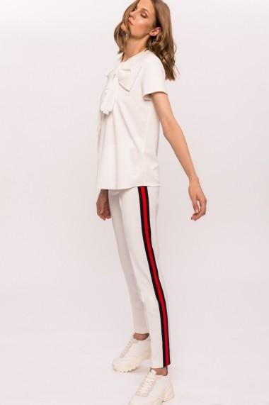 Pantaloni drepti NISSA cu vipusca in contrast Alb