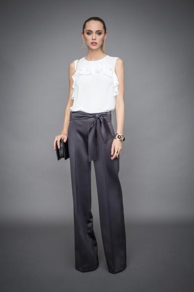 Pantaloni largi NISSA eleganti cu cordon in talie Negru