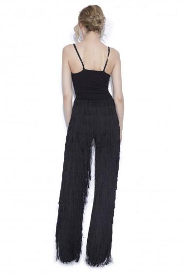 Pantaloni largi NISSA cu franjuri Negru