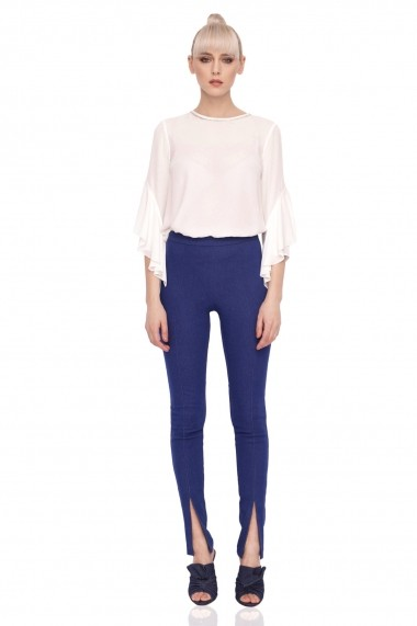 Pantaloni skinny NISSA din denim cu detaliu Albastru