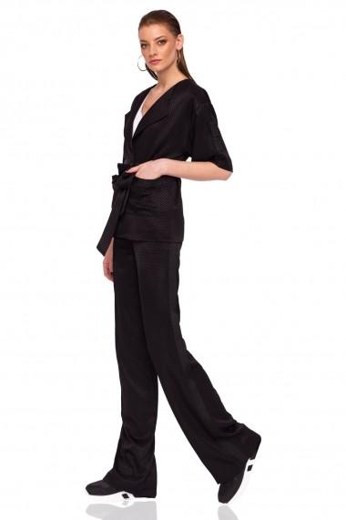Pantaloni largi NISSA drepti cu talie inalta Negru