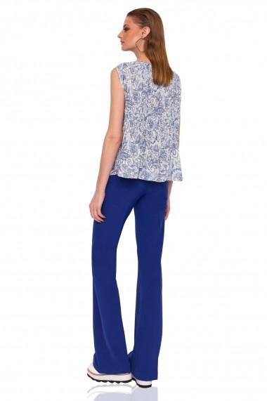 Pantaloni largi NISSA drepti cu talie medie Albastru electric