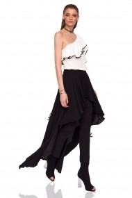 Pantaloni skinny NISSA cu detaliu asimetric Negru
