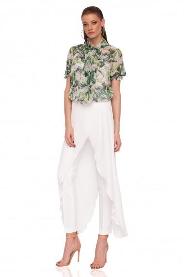 Pantaloni skinny NISSA eleganti cu detaliu Alb