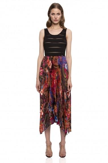 Rochie NISSA cu bust elastic si fusta plisata multicolora