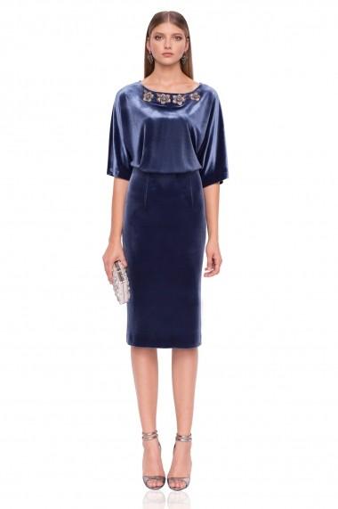 Rochie NISSA midi din catifea albastra