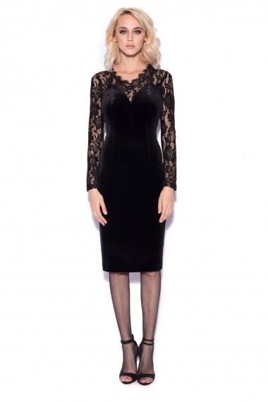 Rochie NISSA eleganta cu detalii din dantela delicata Negru