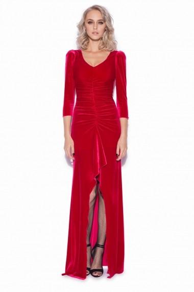 Rochie NISSA lunga eleganta din catifea Rosu